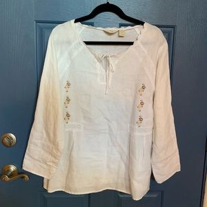 NWOT 100% Linen J. Jill tunic with lace